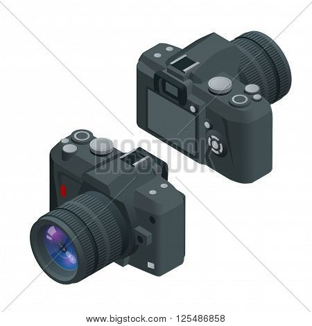 Digital photo camera. SLR camera. Flat 3d vector isometric illustration of Camera.