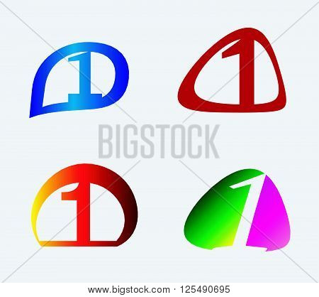 Number one 1 logo icon template set