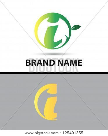 Leaf icon Logo Letter I design template abstract