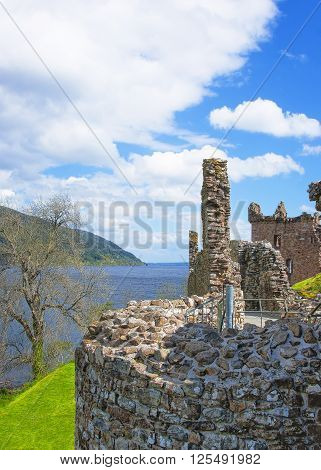 Ruins of Urquhart Castle in Loch Ness in Scotland. Loch Ness is a city in the Highlands in Scotland in the United Kingdom.