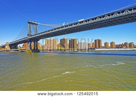 Panoramic view from Ferry on on Manhattan bridge over East River. Lower East Side of Manhattan of New York USA is on the background.
