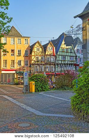 Street view in the City center of Linz am Rhein in Rhineland-Palatinate in Germany.
