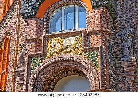 Unicorn and snails of Old Pharmacy Building in Hanover in Germany. Hannover or Hannover is a city in Lower Saxony of Germany.