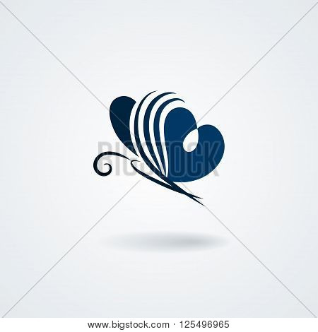Stylized butterfly isolated on white background. Vector symbol