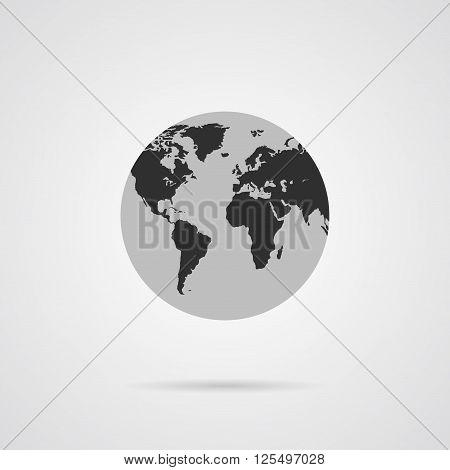 Vector Gray Globe Icon with Dark Gray Continents. Planet Earth. World Symbol Flat Icon. Flat Globe Icon