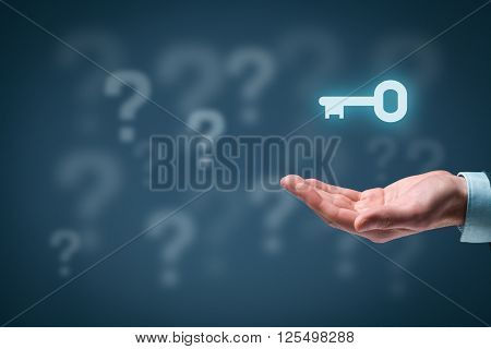 Businessman or consultant give you a business solution represented by key. Question marks in background representing business problems and opportunities.
