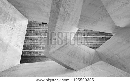 Chaotic Structures Over Dark Gray Brick Wall 3D
