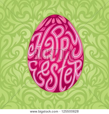 Happy Easter greeting card background with calligraphic text in colored Easter egg in retro colors