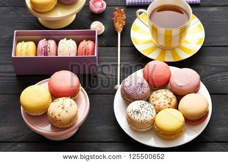 French delicious dessert macaroons on table