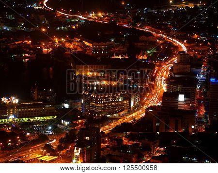 Capital city streets and building illuminated at night