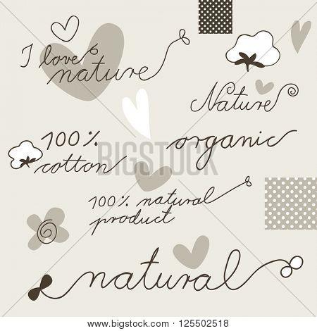 Cotton - set of hand drawn design elements