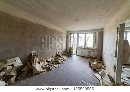 Abandoned Interior In Ruins Of Military Settlement