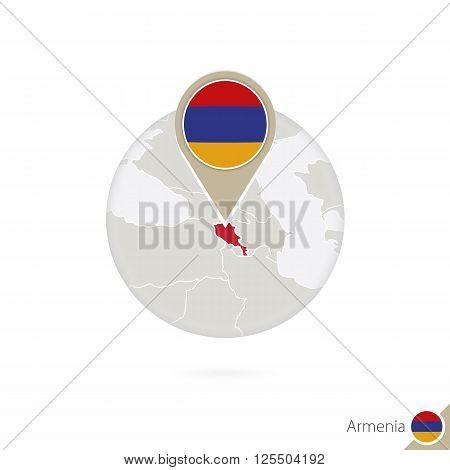Armenia Map And Flag In Circle. Map Of Armenia, Armenia Flag Pin. Map Of Armenia In The Style Of The