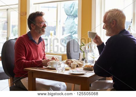 A gay male couple having lunch in a restaurant, side view
