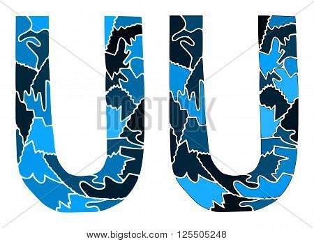 On this illustration is two blue variations of letter u.