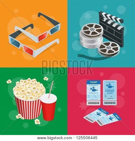 Concept cinema banners. Realistic Cinema concept with movie theatre elements. Movie poster template with film reel, drink, popcorn, 3D glasses, tickets