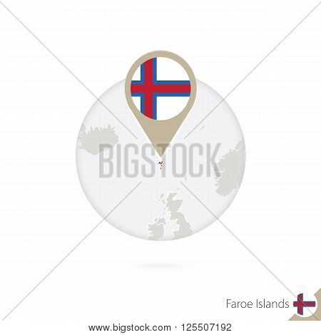 Faroe Islands Map And Flag In Circle. Map Of Faroe Islands, Faroe Islands Flag Pin. Map Of Faroe Isl