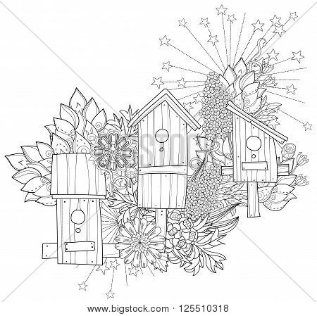 Hand drawn doodle outline spring nesting box decorated with floral ornaments.Vector hand drawn illustration.Floral ornament.Sketch for tattoo, poster, children or adult coloring pages.Boho style.