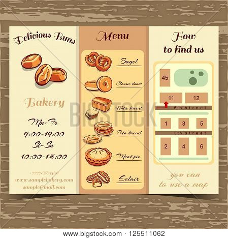 Booklet for bakery with hand drawn bread and buns. Booklet template with schedule, menu and map. Cafe identity. Vector illustration.
