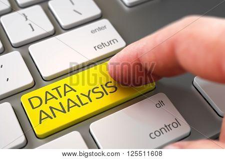 Hand of Young Man on Data Analysis Yellow Key. Data Analysis - Modern Keyboard Key. Finger Pushing Data Analysis Keypad on Laptop Keyboard. Hand Touching Data Analysis Button. 3D.