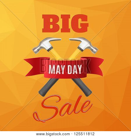 Big May Day sale. May 1st. Labor Day background with two hummers and red ribbon. Poster, or brochure template. Vector illustration.