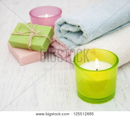 Candle, Towel And Handmade Soap