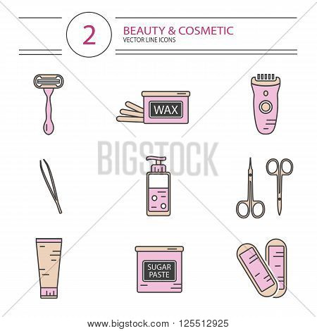 Vector modern line style cosmetics icons set of epilation. Bottle of wax, bottle of sugar paste for sugaring, scissors, wax strips, shaving razor, eyebrow tweezers, clipper.
