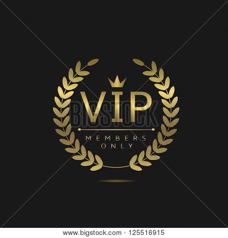 VIP members only. Golden badge on black background, Vector illustration poster