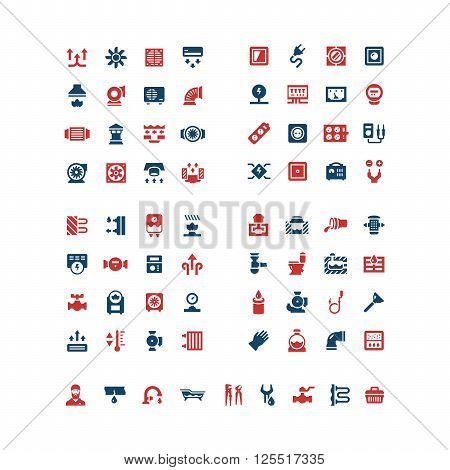 Set color icons of house system isolated on white. Ventilation, electricity, heating, sewerage, plumbing. Vector illustration