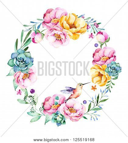 Colorful floral wreath with roses, flowers, leaves, succulent plant, branches, hummingbird and more