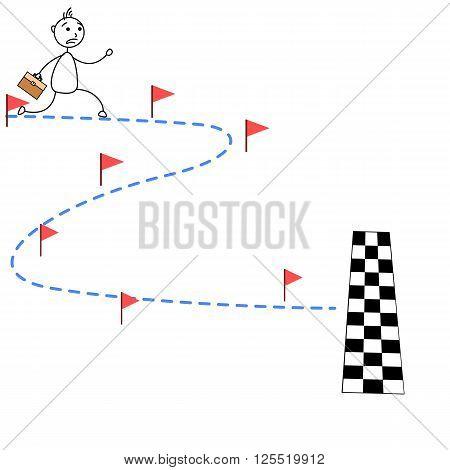 Cartoon stick man running towards finish line