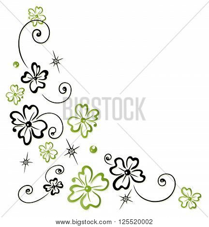 Colorful clover tendril, Silvester decoration, green and black.