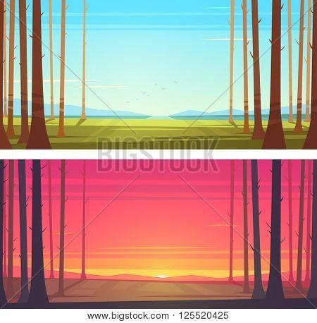 Forest landscapes. Vector illustration.