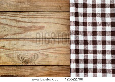 Checkered Tablecloth On A Table In A Rustic Style.