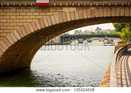 View On River Over The Bridge In Paris