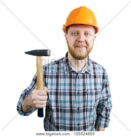 Bearded man in an orange helmet with hammer