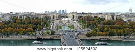 PARIS FRANCE - OCTOBER 10 215: Panoramic and aerial view of the River Seine and Trocadero in Paris France. View from the Eiffel Tower.