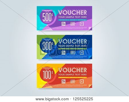 Gift voucher template set. Discount voucher set. Gift certificate. Two side of gift voucher. Gift coupon template. Vector voucher template. Voucher design. Discount coupon. Special offer voucher. Layout voucher. Market offer. Voucher background. Gift card