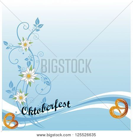 Oktoberfest background with pretzel, edelweiss and beer.