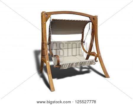 Brown wooden garden swing isolated on the white background