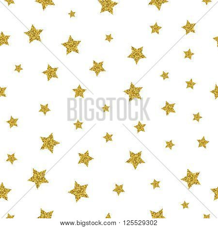 Gold stars vector seamless pattern. Sparkling star gold, seamless gold star, pattern decoration star illustration