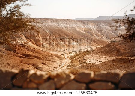 View From Mountain On Negev Desert