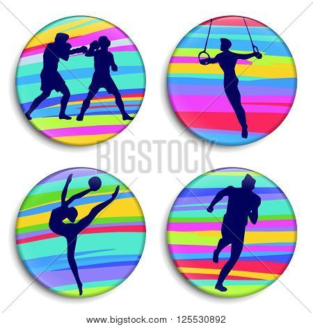 Gymnast with ball. Gymnast on rings. Boxing. Running man. Sport of athletics. Sport Stick Figure. 3D Buttons. Modern style. Color medals. Summer sports game series labels logo badges icons. Vector