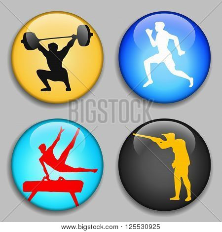 Weightlifter. Gymnast on the pommel horse. Running man. Sport of athletics. Shooter. Sport Stick Figure. 3D Buttons. Modern style. Medals. Summer sports game series labels logo badges icons. Vector