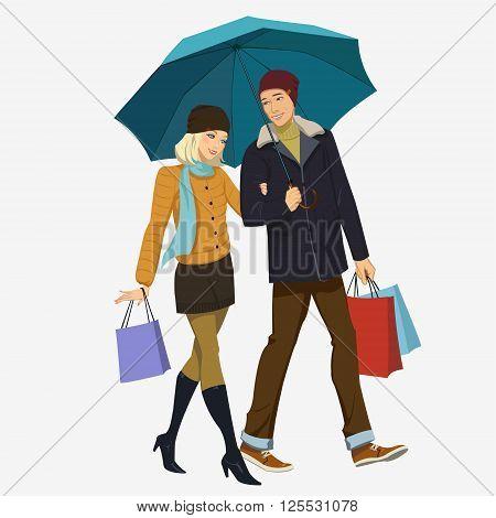 loving couple under an umbrella in the rain