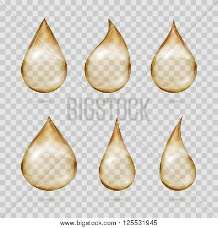 Transparent yellow oil drops vector set. Oil transparent, droplet oil reflection, drip oil olive illustration