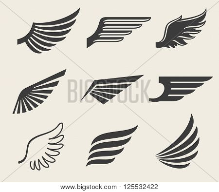 Wings vector icons set. Wing set, icon wing, feather wing bird illustration