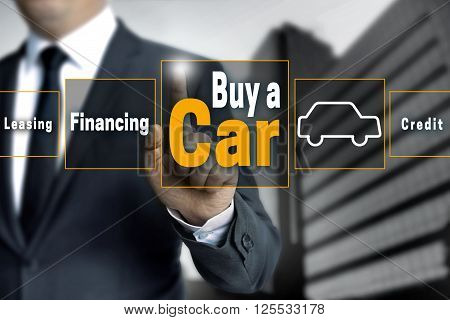 buy a car touchscreen is operated by businessman.