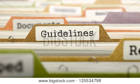 File Folder Labeled as Guidelines in Multicolor Archive. Closeup View. Blurred Image. 3D Render.