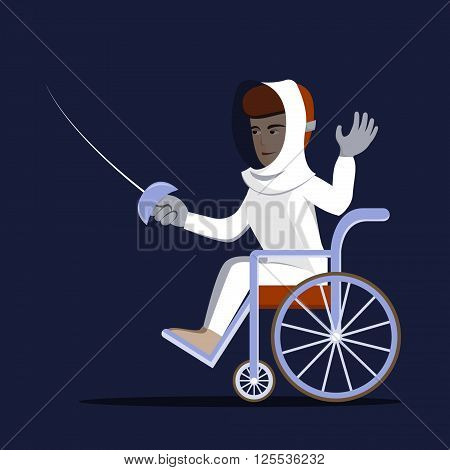 Disabled fencing young man in a wheelchair. Vector illustration of handicapped swordsman with rapier. Flat design, isolated background. Concept for sport, summer paralympic games, recovery, swordplay.